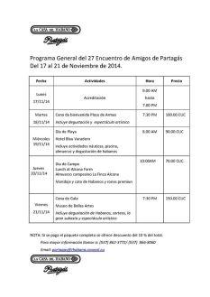 Partagas Programme